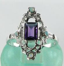 CLASS LONG 9K 9CT CRISP WHITE GOLD NEAR FLAWLESS AMETHYST & OPAL RING