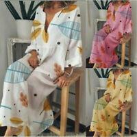 Cotton V-Neck Loose Linen Women Kaftan Maxi Long Sleeve Dress Boho