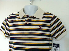 Polo Ralph Lauren SS Cream Polo Shirt Navy/Yellow/Burgundy Stripe Size 4T NWT