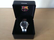 Nuevo - Reloj Watch Montre PULSAR F.C. BARCELONA Quarz Black Dial Steel Acero