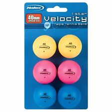 NEW* Halex 59306 Velocity 1 Star 40mm Coloured Table Tennis Balls - Pack of 6