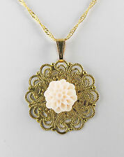 """Pink Resin Peony 14mm on Brass Disk 34mm with 18"""" Gold Plated Singapore Chain"""