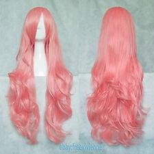 NEW Long Hair Curly Cosplay Wig Pink Ladies Party Hair + Free Wig Cap