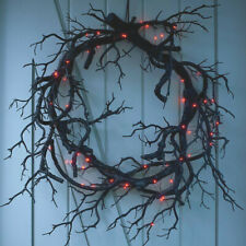 "CrEePy 26"" Black Branch Halloween Wreath w/Choice of Amber or Purple Fairy Light"