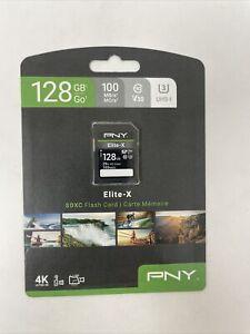 PNY 128GB Elite-X Class 10 U3 V30 SDXC Flash Memory Card Read Speeds up to 10