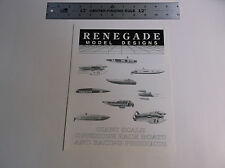 VINTAGE RENEGADE MODEL DESIGNS GIANT SCALE MODEL R/C BOAT CATALOG *EX-COND*