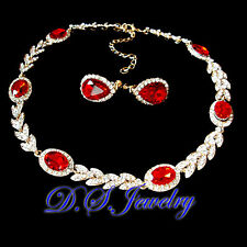 Red & Clear Swarovski Crystal Rhinestones Necklace & Earrings Clip On Set