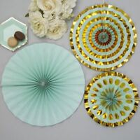 Pinwheels - Mint Green and Gold- 3 Pack Ceiling / Party Decorations
