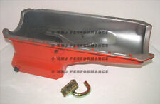 65-90 BBC Chevy 6qt Orange Drag Race Pan and Oil Pump Pickup Tube - 396 427 454