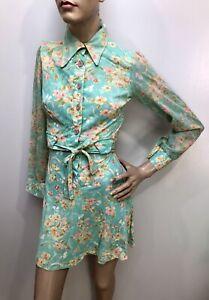 VTG 1970s Knit Jersey DOGWOOD FLOWER PRINT Baby-Doll Micro MINI-DRESS Dagger Clr
