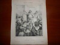 "1839 Litografia di Paul Gavarni ""Une Tombola"" Parigi Aubert - Napoli"