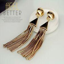 earrings Clip on Pliers Golden Pompom Tassel Metal Long Class J8
