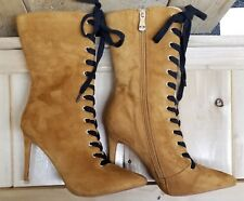 eb9f56ea438 Cape Robbin Womens High Heel Brown Boots Size 8 Laceup Zipper Faux Suede  Leather