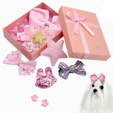 10pcs Dog Hair Bows with Clips Pink Pet Cat Holiday Grooming Headdress Shih tzu