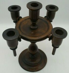 """Vintage Wooden 5 Arm Candle Candelabra Wood Candle Holder Gothic Centerpiece 11"""""""
