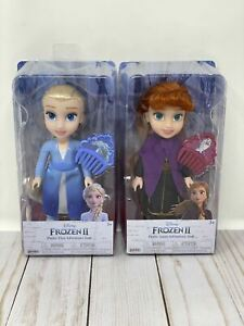 "Two Dolls Frozen 2 Princess Anna & Elsa 6"" Petite Doll And Comb By Jakks 3+"