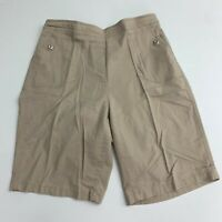 Allison Daley Bermuda Shorts Women's 12 Khaki Tan Pull On Pockets Elastic Waist