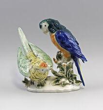 Porcelain Figurine Parrot Group Green/Blue Wagner & Apel 8 5/16X6