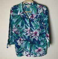 JM Collection Women's Top Size 14 Blouse Cotton Floral 3/4 Tie Sleeves Blue