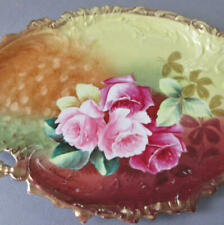 "Antique Hand Painted Porcelain 12"" Vanity Tray ROSES ""American Beauty"" * Signed"