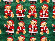 SANTA BEAR FABRIC  TEDDY BEARS CHRISTMAS QUILTING COTTON  DAVID TEXTILE  YARDAGE
