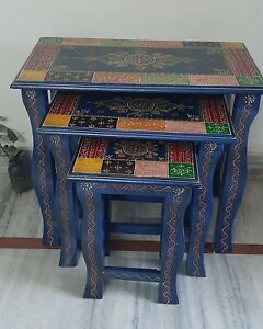 Wooden blue hand painted nesting table embossed floral painting stool home decor