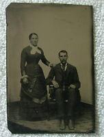 TINTYPE WOMAN STANDING MAN SITTING BEAUTIFUL FULL LENGTH DRESS MUSTACHE #g99