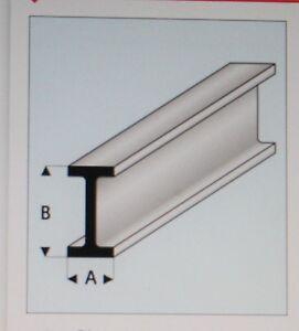 "MAQUETT 414-56/3 White Styrene I-beam 8.0mm x 4.0mm / 0.312""x 0.156"" x 330mm X5"