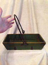 "Antique Chinese Wood Iron Handled Rice Grain Measure Magazine Box Green 14"""