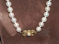 """D103 Mikimoto Akoya  pearls necklace 18k clasp 72 white pearls 6.5 MM 20"""" chain"""