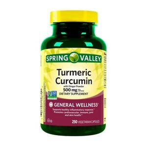 Spring Valley Turmeric Curcumin Vegetarian Capsules 500mg 250ct EXP 06/2024