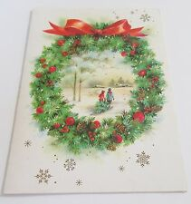 Used Vtg Christmas Card Winter Scene inside Wreath Bringing home the Tree