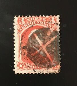 Stamps Canada Newfoundland Sc33 3c vermilion.Victoria of 1870,Pl see de7ail.
