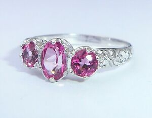 Antique Style 9ct White Gold Hot Pink Topaz Three Stone Ring, Size N