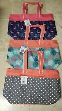 - Polka Dot Jumbo XL Shopping Beach Tote Bag - Peach Gray All 3 Bags