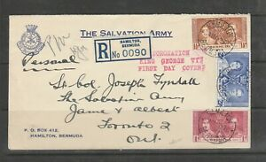Bermuda FDC on Salvation Army cover, 1937 Coronation, registered at Hamilton,