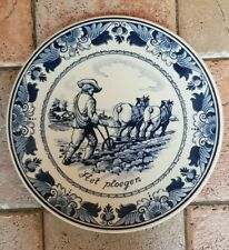 """9.5"""" Vintage Dutch Plate Dish Wall Charger Dutch Delft Blue White Plower Horses"""