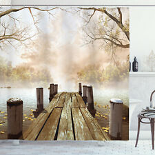 Autumn Shower Curtain Fall Lake in Forest Print for Bathroom 70 Inches Long