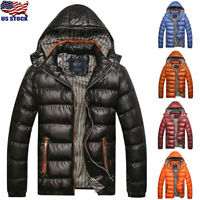 Men's Winter Warm Hooded Quilted Thick Padded Zipper Jacket Coat Outwear Parka