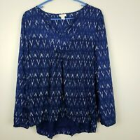 J Crew Factory Women's Ikat Peasant Long Sleeve Top Shirt Blouse Cotton Medium