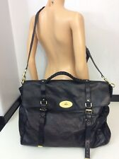 Mulberry Black Leather Bag Over Night Postman Lock Vgc Hold-all Travel
