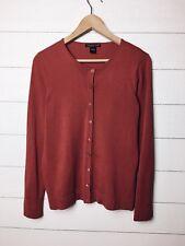 August Silk Womens Brick Red Silk Blend Button Cardigan Sweater Sz L EUC Work