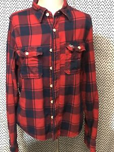 ABERCROMBIE & FITCH XL Muscle Flannel Shirt Red Black Button Down