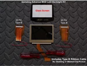 GBA MOD LCD Backlight Kit 32/40 Pin Type B GBA SP AGS-101 Backlit LCD/Glass