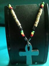 Rastafarian Colours with Natural Coconut Wood And Hematite Cross Pendant Chain