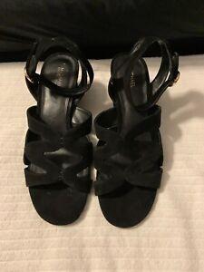 Michael Kors Ladies Block Heel Black Shoe Size 9.5