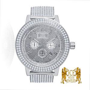 Real Diamond Joe Rodeo White Gold Tone Steel 2 Row Bezel Custom Ice House Watch