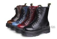 Retro Lady's Women High Top Platform Punk Goth Leather Ankle Boots Lace Up Shoes
