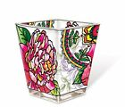 Peony Flowers Tea Light Candle Holder AMIA Hand Painted Glass Pink Peonies New