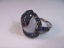 Unique 14K White Gold Chalcedony Quartz Sapphire Ruby Diamond Snake Ring Band